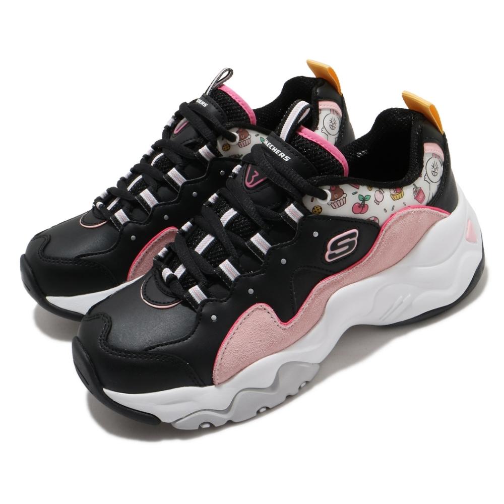 Skechers 休閒鞋 D LITES 3  老爹鞋 女鞋 厚底 增高 Line Friend 兔兔 黑 粉 66666255BKPK