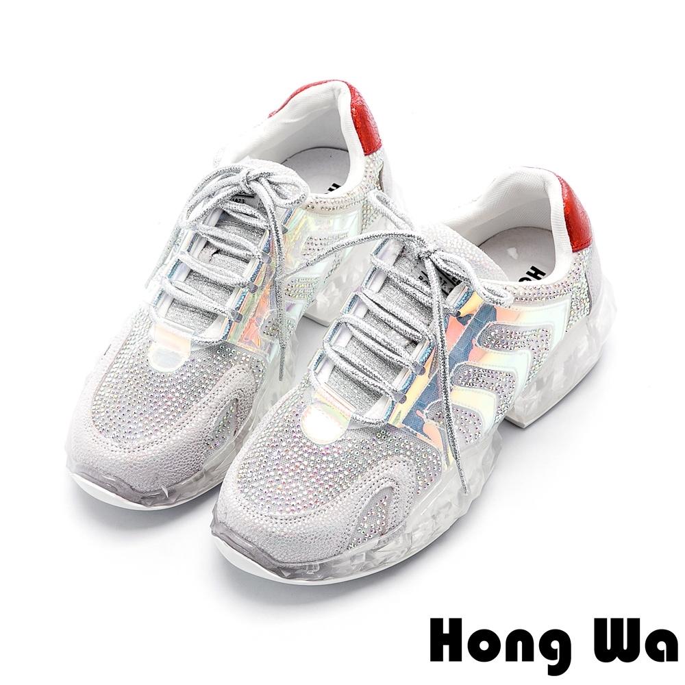 Hong Wa 時尚水鑽網布厚底綁帶老爹鞋 - 銀