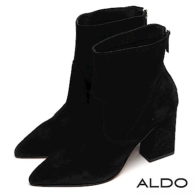 ALDO 原色真皮馬鞍造型金屬拉鍊粗跟靴~尊爵黑色