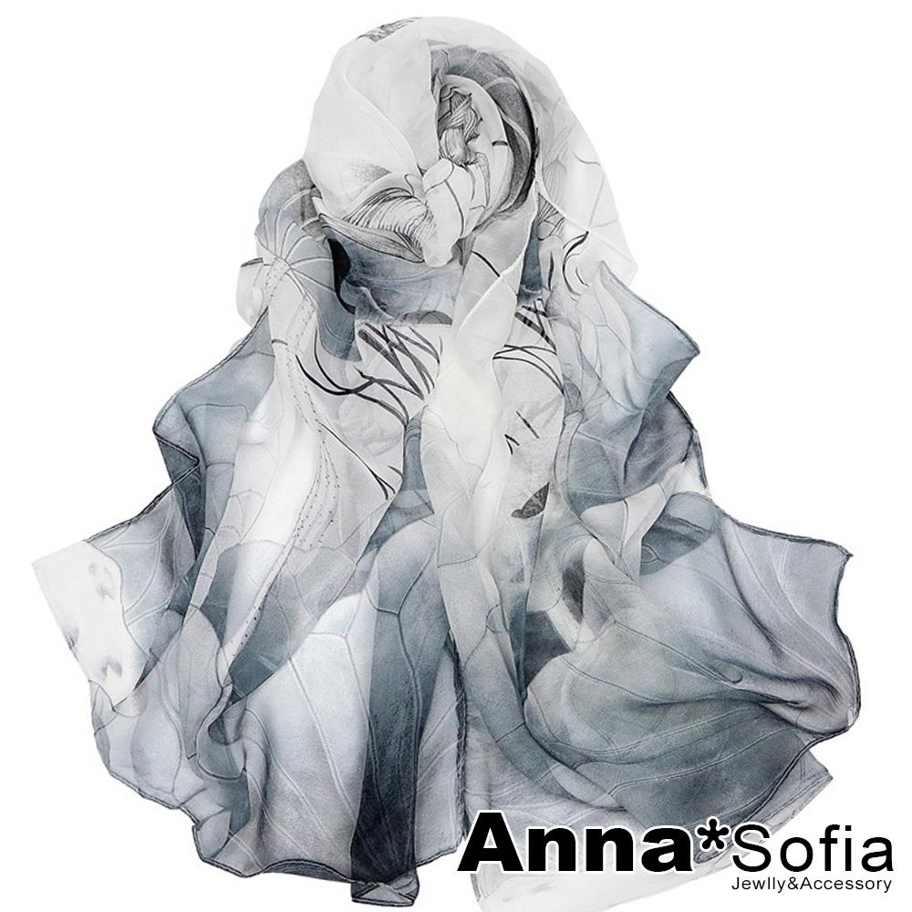 AnnaSofia 魅染荷花 軟柔雪紡 仿蠶絲領巾絲巾圍巾(灰黑系)
