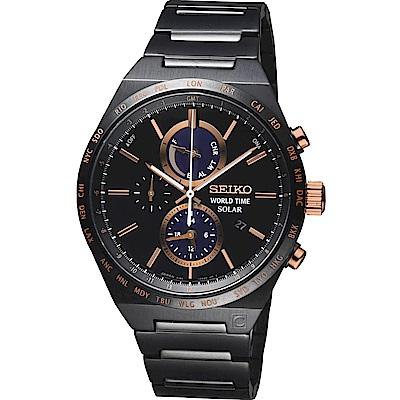 SEIKO 精工 SPIRIT 太陽能世界時間計時男錶(V195-0AE0K)