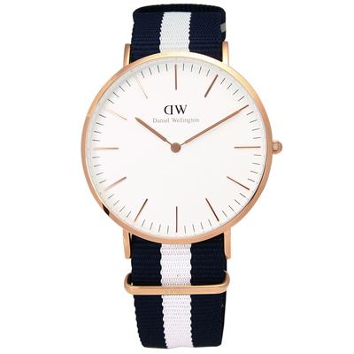 Daniel Wellington Glasgow 帆布男錶-/金框/藍白寬帶40mm
