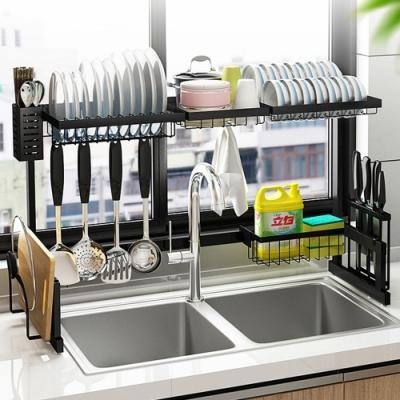QHL 酷奇 工業風多功能不鏽鋼廚房水槽瀝水架(85cm)