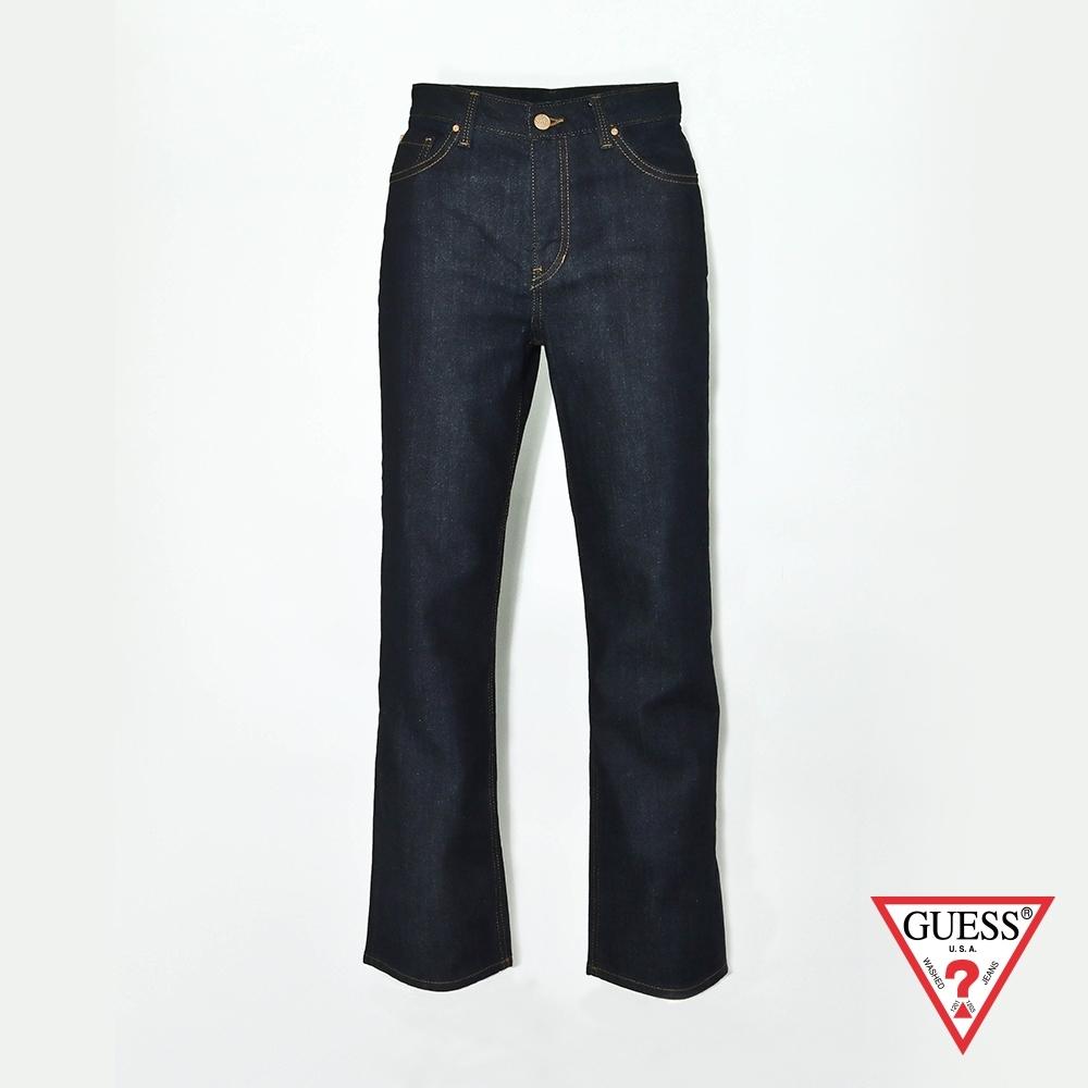GUESS-女裝-經典刷色牛仔寬褲-黑