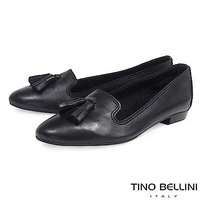 Tino Bellini 義大利進口小流蘇真皮樂福鞋 _ 黑