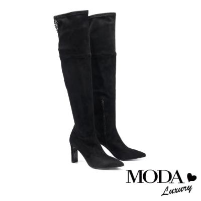 過膝靴 MODA Luxury 輕熟時尚黑鑽網格尖頭造型高跟過膝靴-深黑