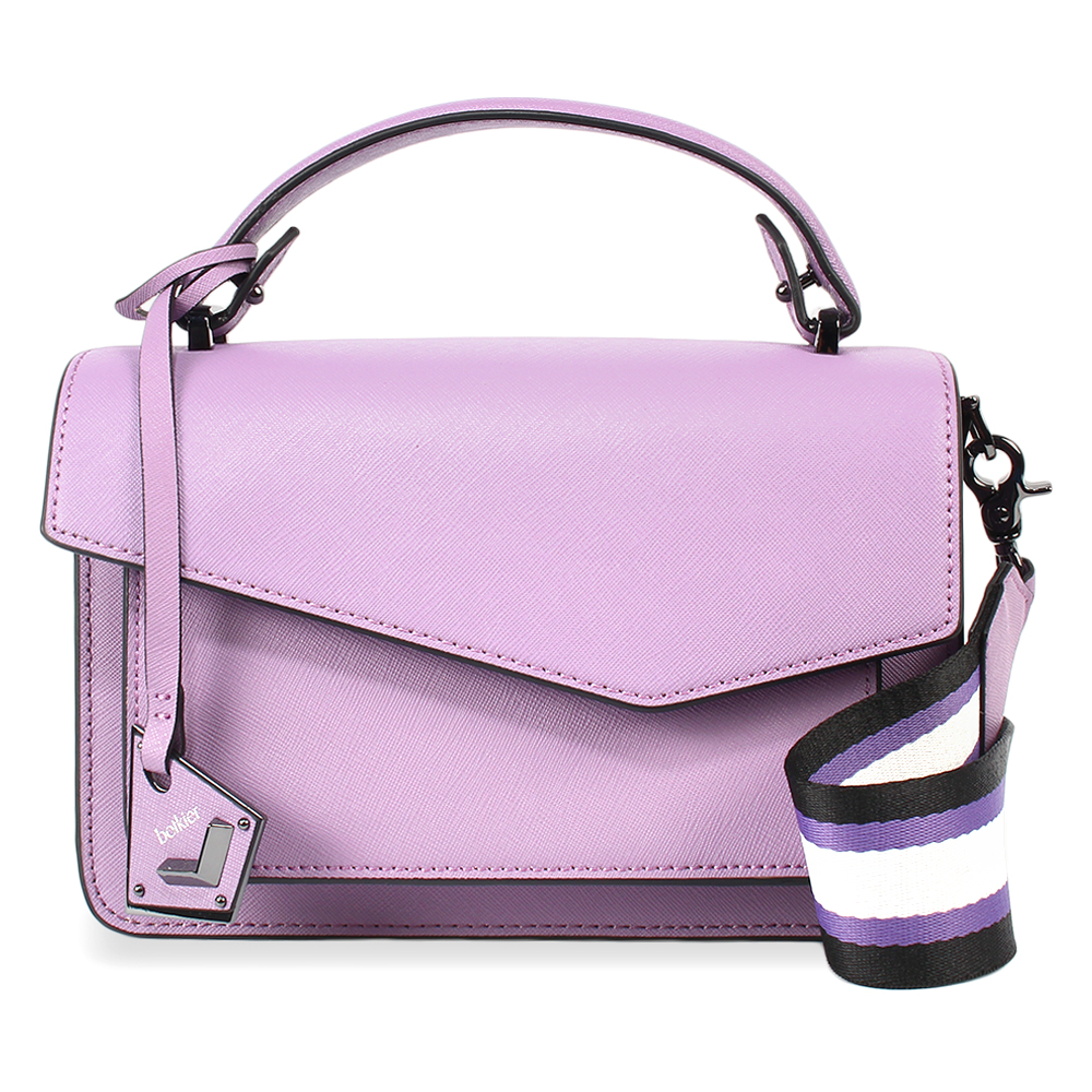 botkier Cobble Hill 防刮皮革手提/斜背兩用風琴包-粉紫色