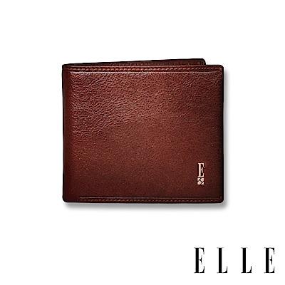 ELLE HOMME 壓紋Logo系列-3卡窗格簡約真皮皮夾/短夾/零錢袋- 紳士棕