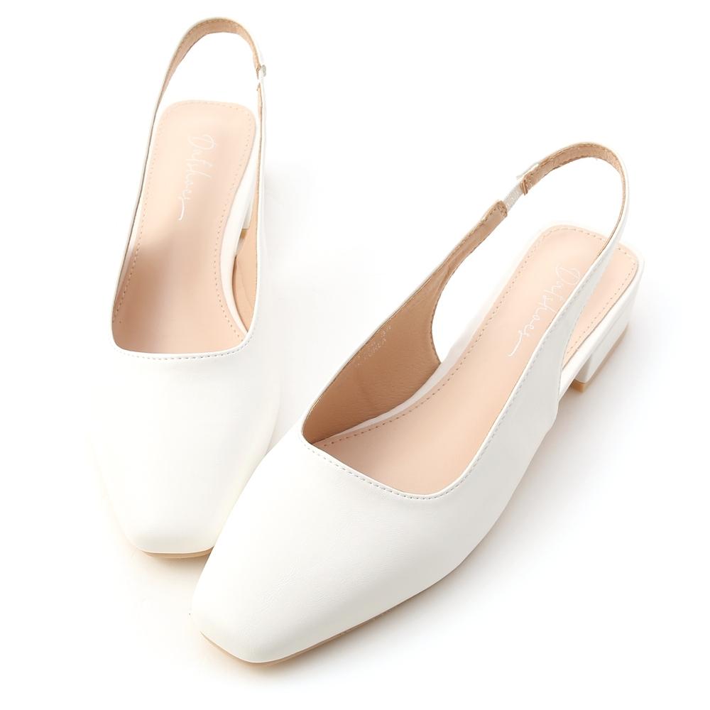D+AF 春日甜氛.素面方頭後空低跟鞋*白
