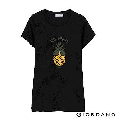 GIORDANO 女裝假期休閒印花T恤-46 標誌黑
