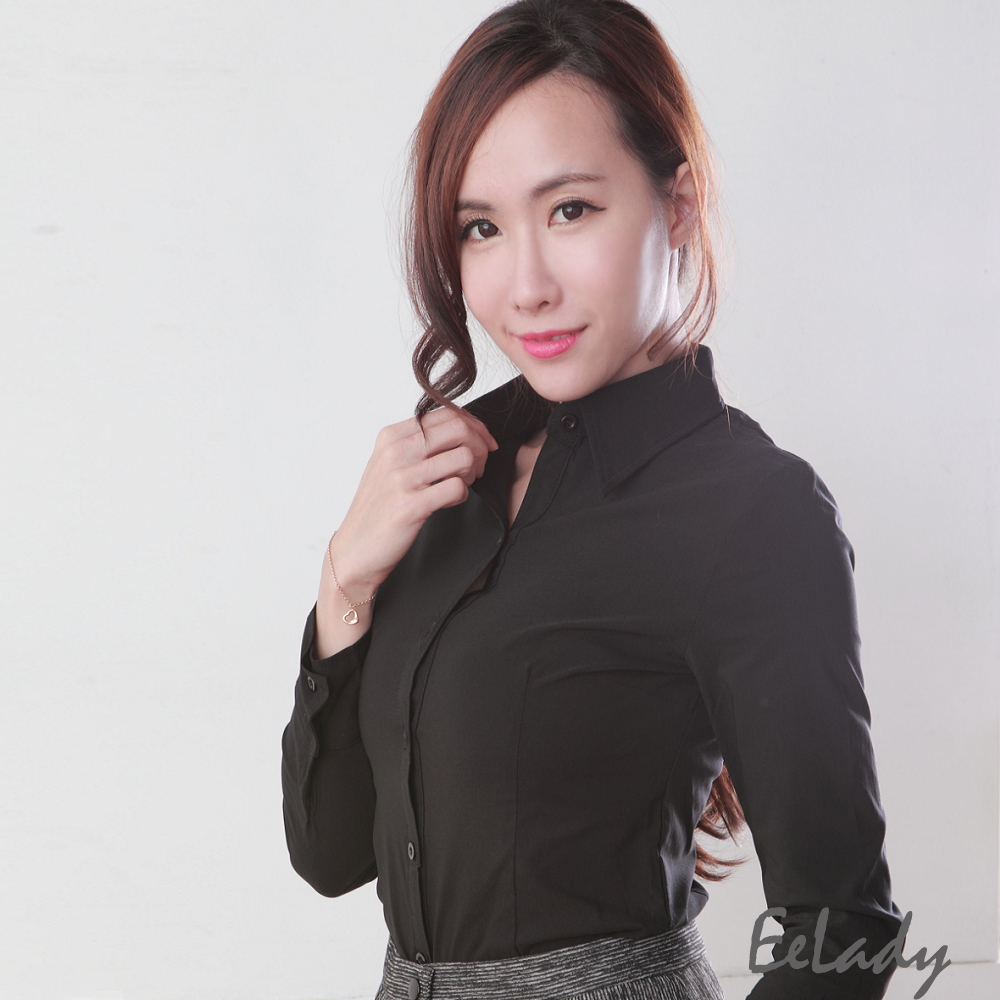 EELADY-素面優質OL長袖襯衫(黑)
