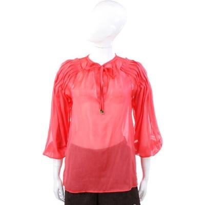 CLASS roberto cavalli 桔紅色綁帶透膚雪紡絲質上衣