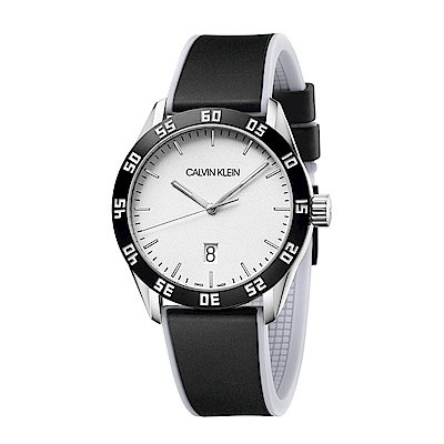 CALVIN KLEIN compete 系列手錶-白x黑色錶帶/42mm