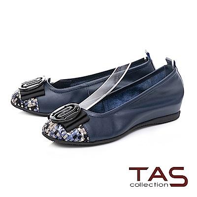 TAS 圓飾蝴蝶結炫彩編織格紋娃娃鞋-深海藍