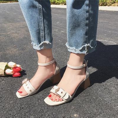 KEITH-WILL時尚鞋館 英倫格調魚口粗跟涼鞋 白