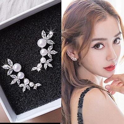 梨花HANA 韓國925銀銀浮華世界珍珠全鑽耳環