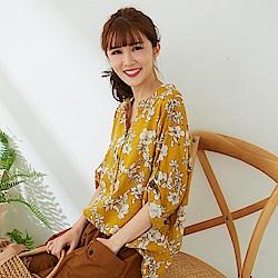 慢 生活 單色印花襯衫領上衣-黃色