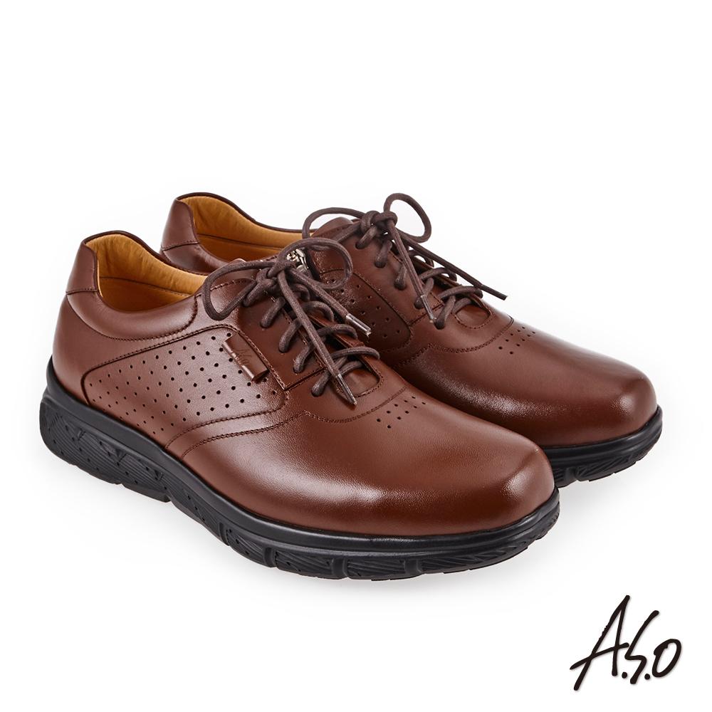 A.S.O 超能耐二代 壓紋綁帶氣墊休閒皮鞋 茶