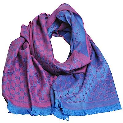 GUCCI SC NEW STEN GG LOGO羊毛雙面寬版披肩/圍巾(桃紅/土耳其藍)