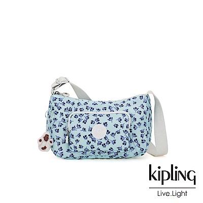 Kipling 典雅淡藍小花雙拉鍊口袋側背包-SAMARA