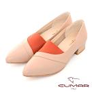 【CUMAR】極簡生活簡約尖頭鬆緊拼接粗跟鞋-棕色