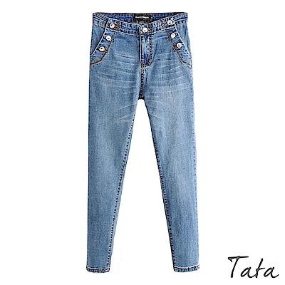 裝飾扣彈力牛仔褲 TATA