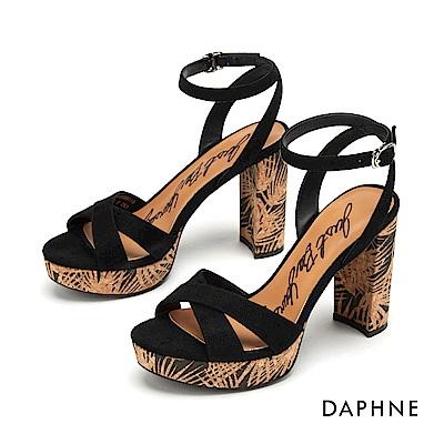 達芙妮DAPHNE 涼鞋-印花鞋跟造型交叉條帶高跟涼鞋-黑色