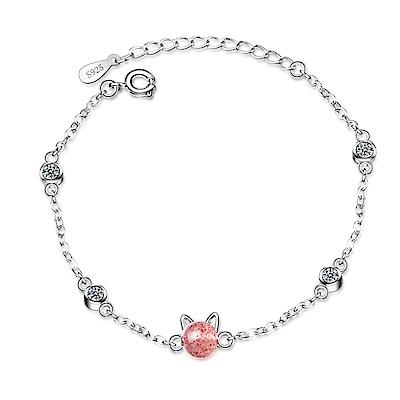 Angel 貓耳莓果泡泡粉晶珠雪白銀手鍊