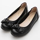 River&Moon乳膠鞋 台灣製扭結蝴蝶結柔軟舒適楔型娃娃鞋 黑