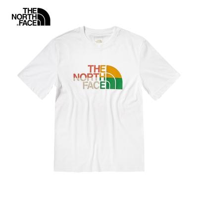The North Face北面男款白色繽紛品牌印花圓領短袖T恤|5AZCFN4