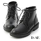 D+AF 型人風格.圓頭綁帶短筒馬汀馬丁短靴*黑
