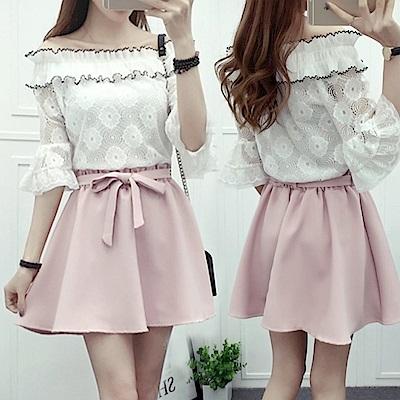 La Belleza素色鬆緊腰綁帶波浪短裙(內裡短褲)