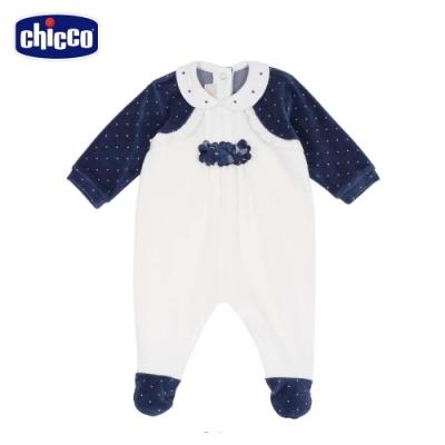 chicco-湛藍花園-假兩件式剪毛絨後開兔裝