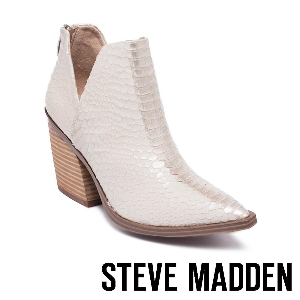 STEVE MADDEN-AYLSE 質感特殊紋粗跟踝靴-米杏色