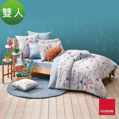 La mode寢飾 花間小球環保印染100%精梳棉兩用被床包組(雙人)
