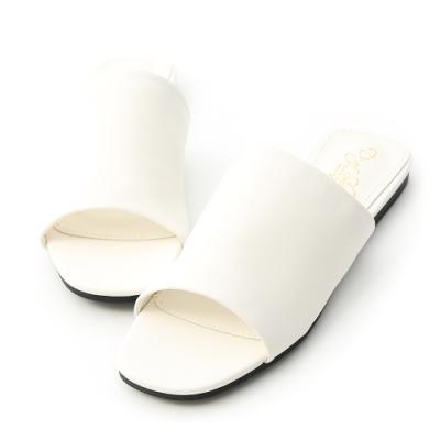 D+AF 極簡質感.超軟方頭寬版一字拖鞋*白