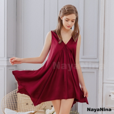 Naya Nina 氣質酒紅素色V領居家洋裝睡衣-紅F