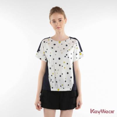 KeyWear奇威名品    立體泡泡波點休閒上衣-白色