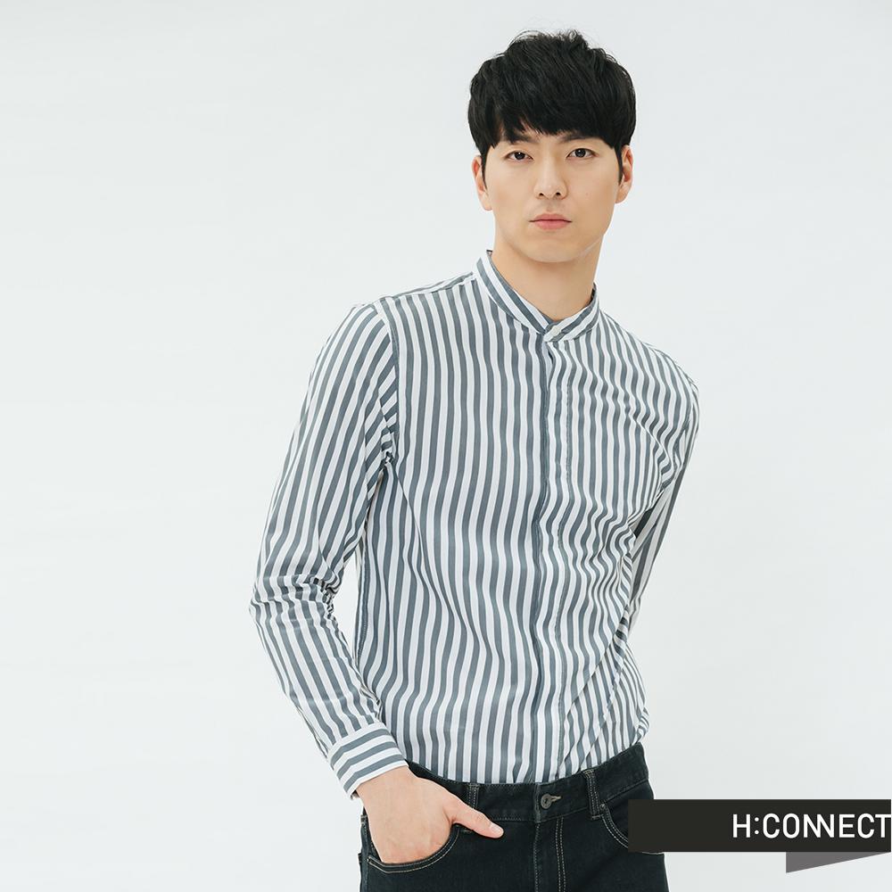 H:CONNECT 韓國品牌 男裝-直條紋棉質襯衫-淺藍 @ Y!購物
