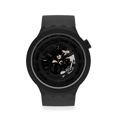 SWATCH 生物陶瓷 BIG BOLD系列手錶C-BLACK 黑(47mm)