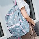 DF Queenin日韓 - 韓版簡約時尚百搭可折疊雙肩後背包-天藍火烈鳥