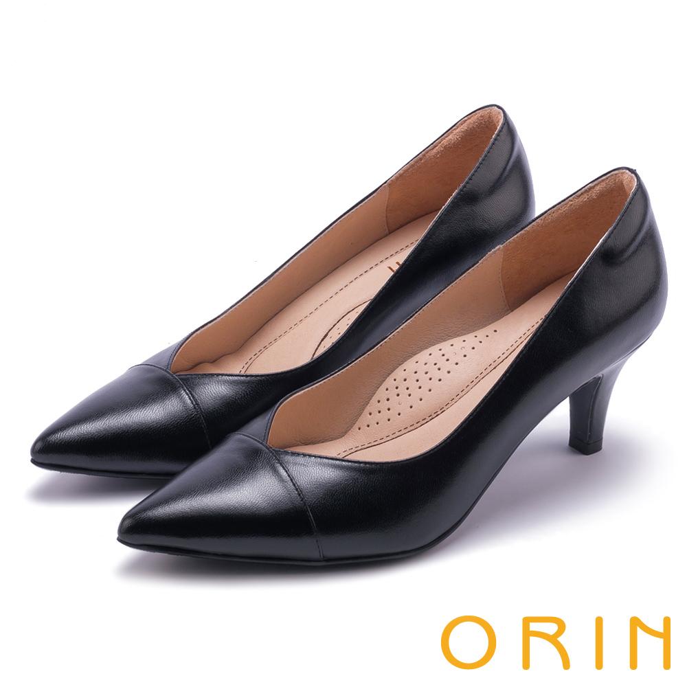 ORIN 典雅氣質 尖頭V口柔軟羊皮高跟鞋-黑色