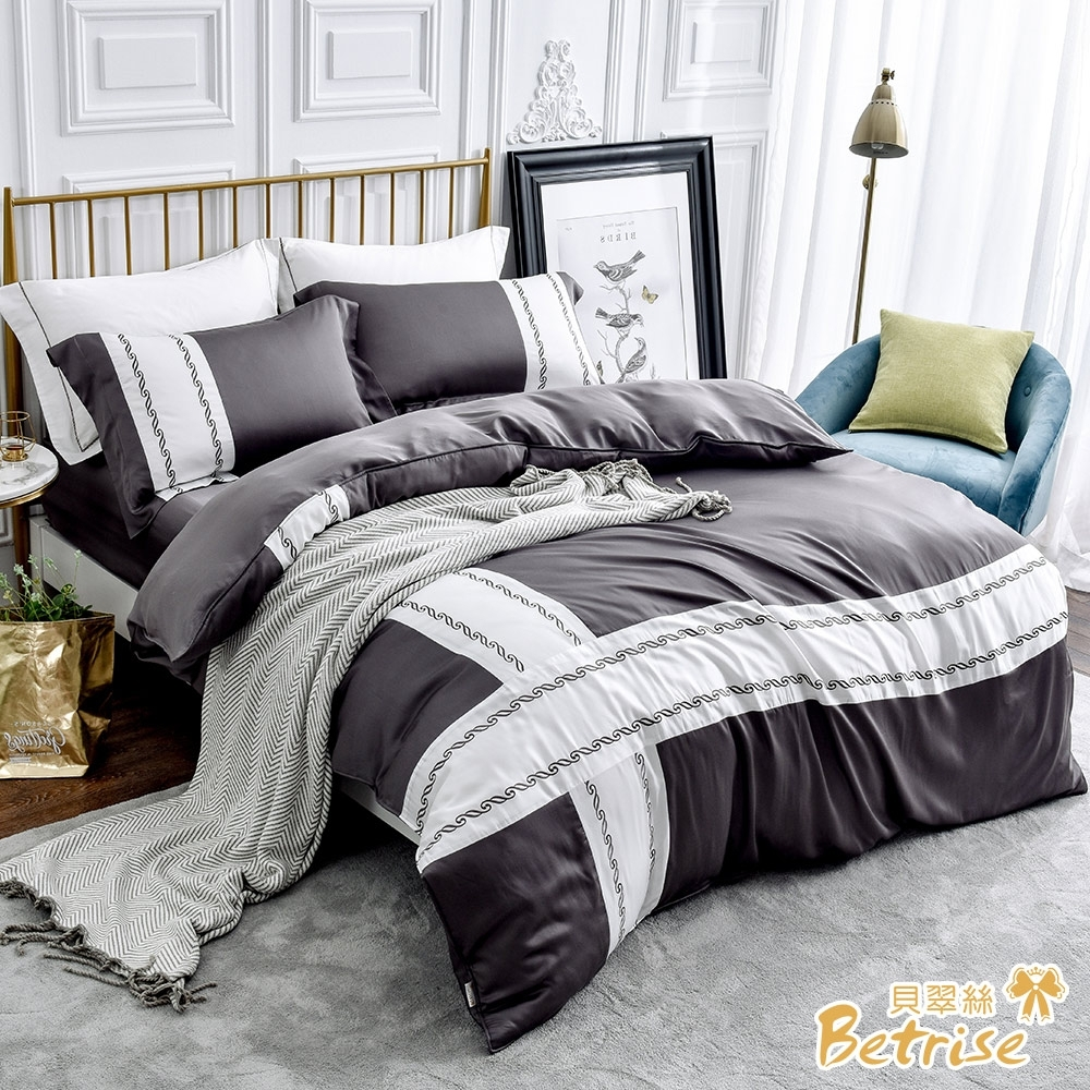 Betrise玄灰 雙人 歐風系列 300織紗100%純天絲防蹣抗菌四件式兩用被床包組
