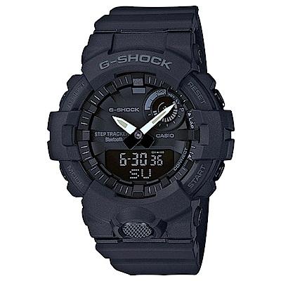 G-SHOCK 藍牙運動鍛鍊步數分析雙顯錶(GBA-800-1A)-黑/48.6mm