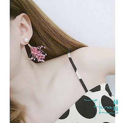Hera 赫拉-粉色花朵耳環紫色百搭乾花耳飾品流蘇吊墜超仙耳墜長款氣質耳釘女