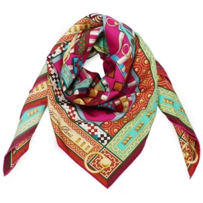 HERMES 狗項圈系列真絲方型披肩圍巾(桃紅)