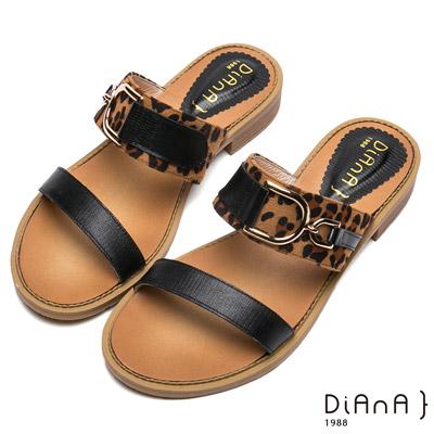 DIANA–性感豹紋金屬釦飾涼拖鞋-摩登叢林-黑