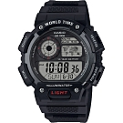 CASIO 卡西歐 10年電力世界時間手錶-黑(AE-1400WH-1A)