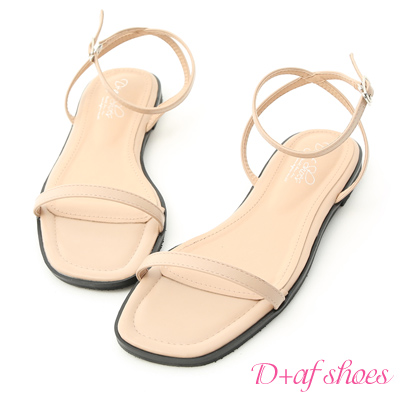 D+AF 純真美感.簡約一字繫踝平底涼鞋*杏