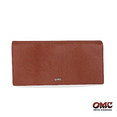 OMC 進口小牛皮-馬尾紋對折12卡透明窗零錢長夾-咖啡